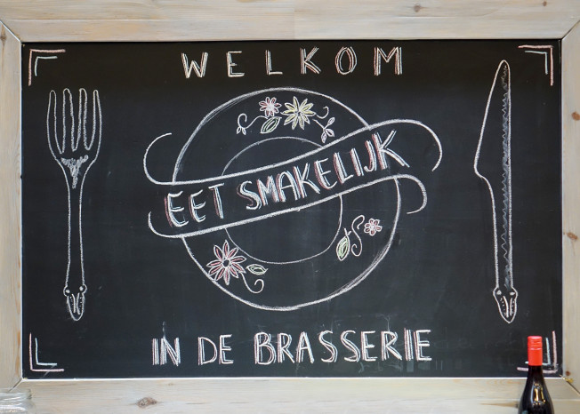 Welkomstbord van brasserie zorglocatie Elim in Putten.